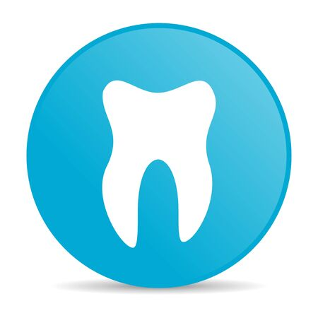 tooth blue circle web glossy icon  photo