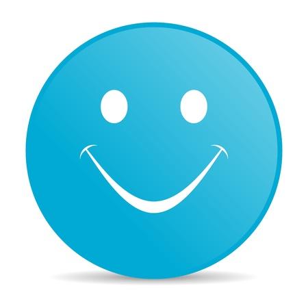 smile blue circle web glossy icon  photo