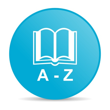 dictionary blue circle web glossy icon