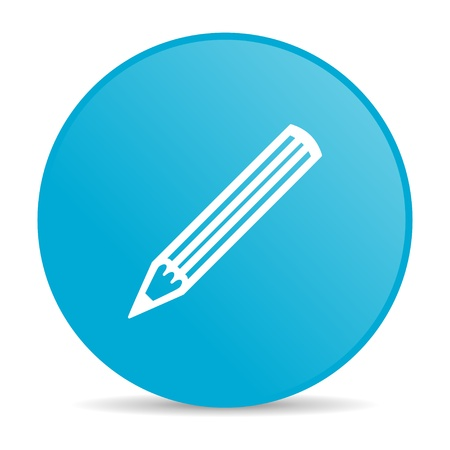 pencil blue circle web glossy icon  photo
