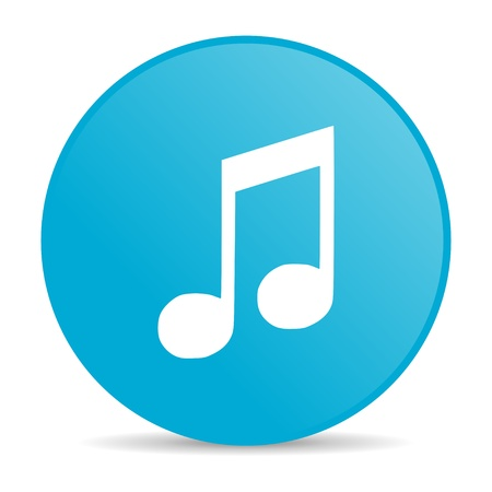 music blue circle web glossy icon Stock Photo - 19227634