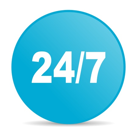 24/7 blue circle web glossy icon