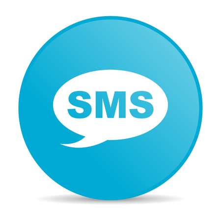 sms blue circle web glossy icon  photo