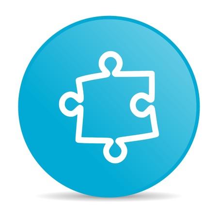 puzzle blue circle web glossy icon   photo