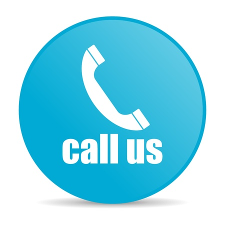 call us blue circle web glossy icon Stock Photo - 19228276