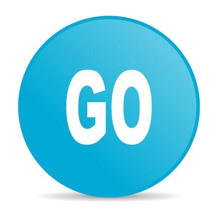 go blue circle web glossy icon  photo
