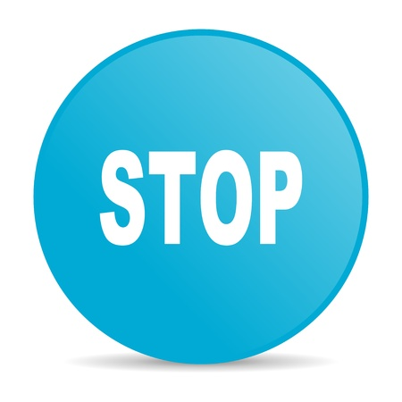stop blue circle web glossy icon