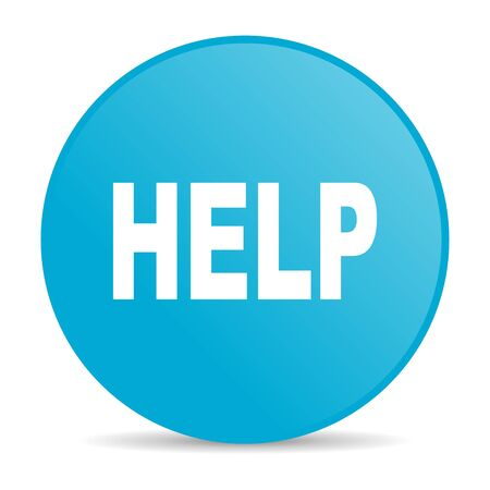 help blue circle web glossy icon