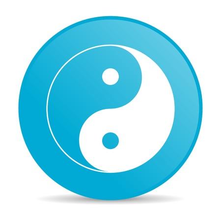 yang ying: ying yang blue circle web glossy icon