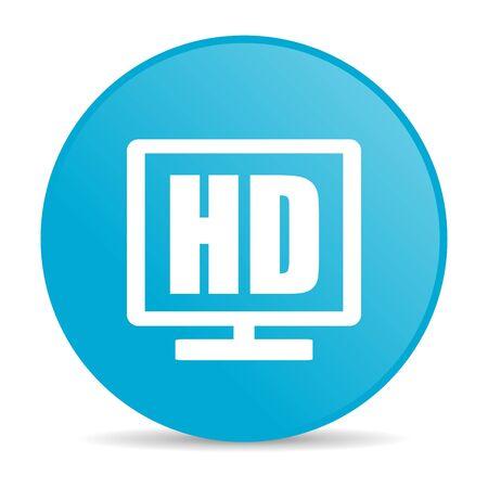 hd display blue circle web glossy icon  photo