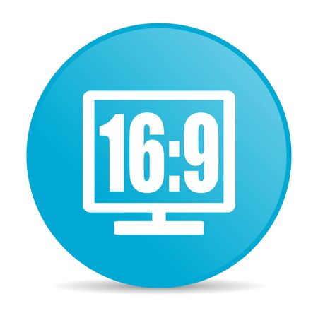 16 9 display blue circle web glossy icon  photo