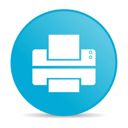 printer blue circle web glossy icon  photo