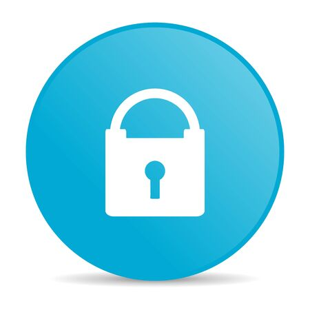 protect blue circle web glossy icon  photo