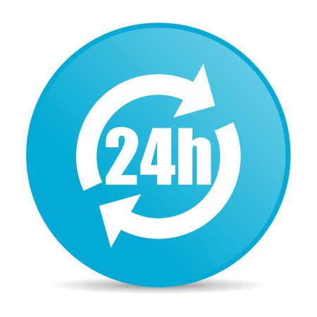 24h blue circle web glossy icon  photo