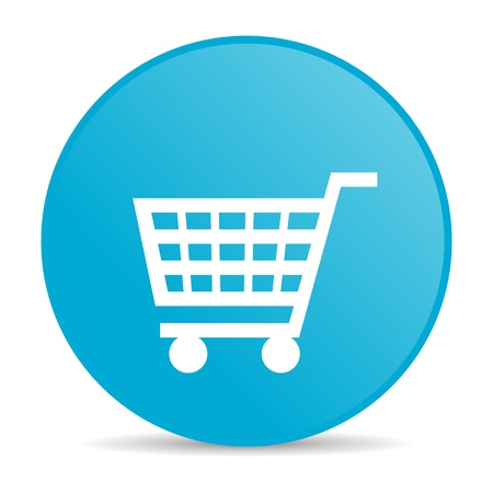 shopping cart blue circle web glossy icon Stock Photo - 19228114