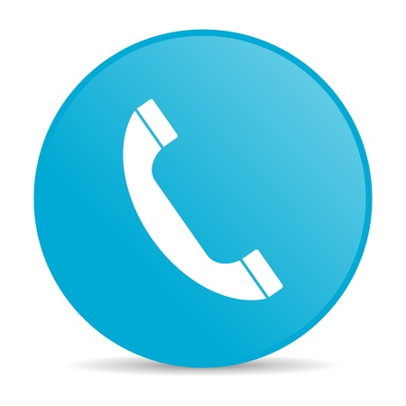 phone blue circle web glossy icon