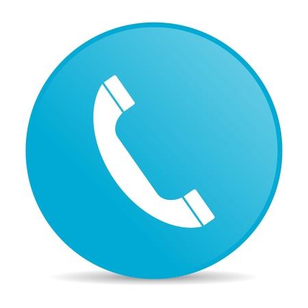 phone blue circle web glossy icon Stock Photo - 19227823