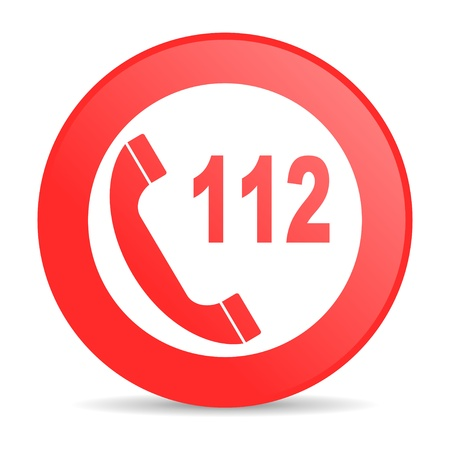 emergency call red circle web glossy icon Imagens - 19228490