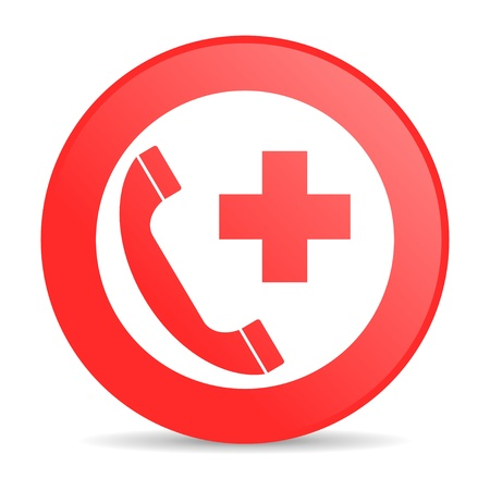 emergency call red circle web glossy icon  photo