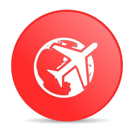 travel red circle web glossy icon  photo