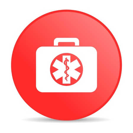 rescue kit red circle web glossy icon  photo