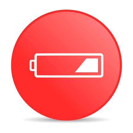 accuse: battery red circle web glossy icon  Stock Photo