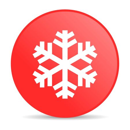 snowflake red circle web glossy icon  photo