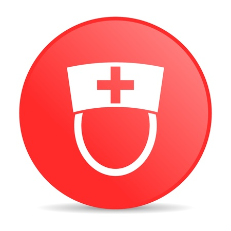 nurse red circle web glossy icon Stock Photo - 19228031