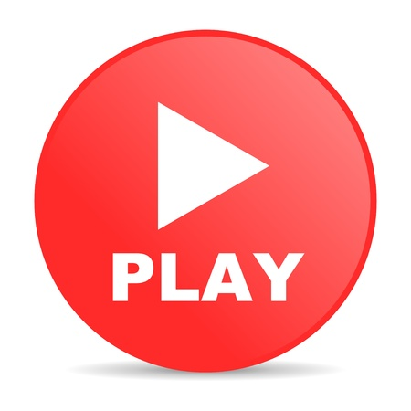 grać WWW czerwony błyszczący okrąg ikonę