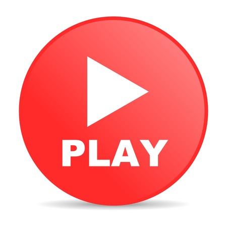 spielen roten Kreis web glossy icon Standard-Bild