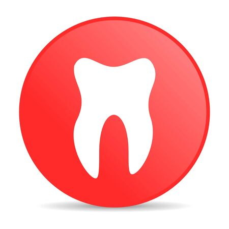 tooth red circle web glossy icon  photo