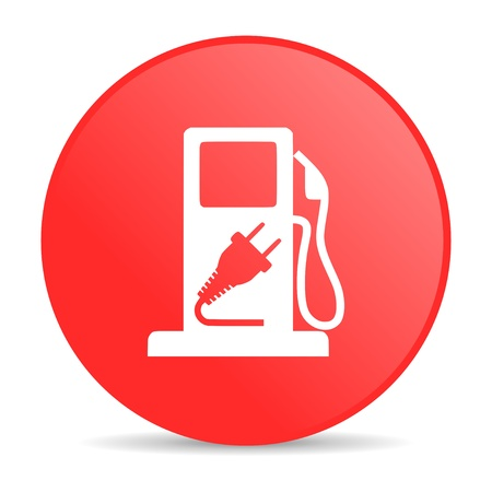 fuel red circle web glossy icon  photo
