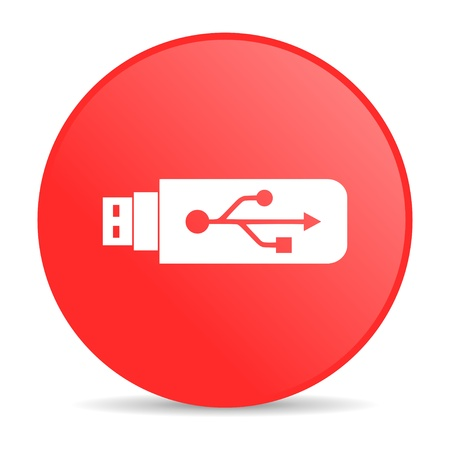 usb red circle web glossy icon  photo