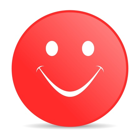 smile red circle web glossy icon Stock Photo - 19228082