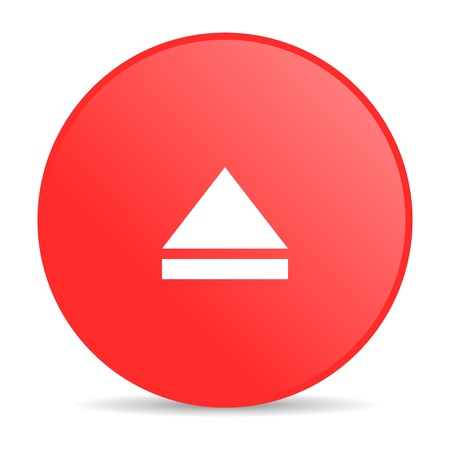 eject red circle web glossy icon Stock Photo - 19252313
