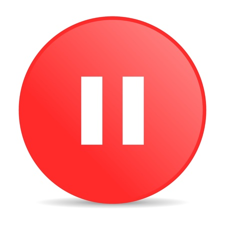 pause red circle web glossy icon Stock Photo - 19252322