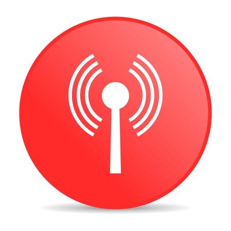 wifi red circle web glossy icon  photo