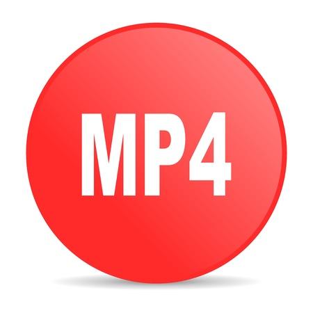 mp4: mp4 red circle web glossy icon  Stock Photo