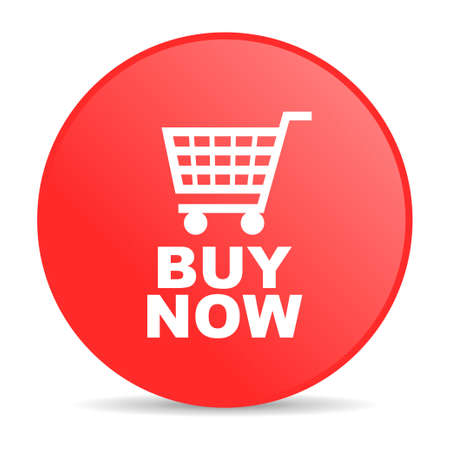 buy now: buy now red circle web glossy icon  Stock Photo