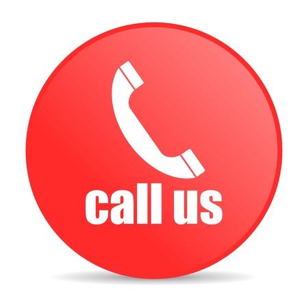 call us red circle web glossy icon  photo