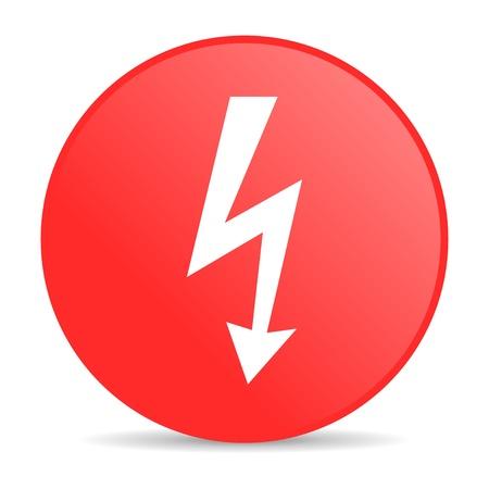 lightning red circle web glossy icon  photo