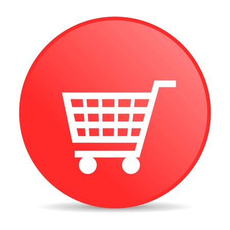 add to shopping cart icon: shopping cart red circle web glossy icon  Stock Photo