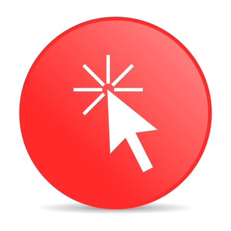 click here: click here red circle web glossy icon  Stock Photo