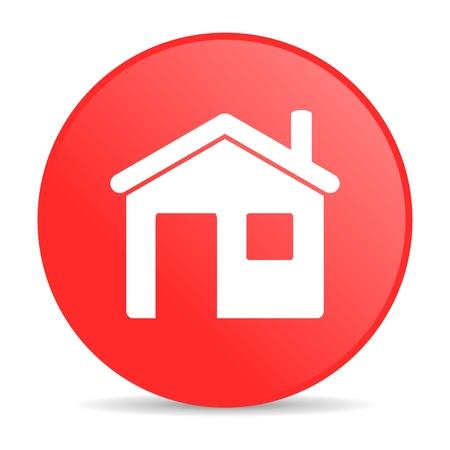 icono home: casa c�rculo rojo brillante icono web
