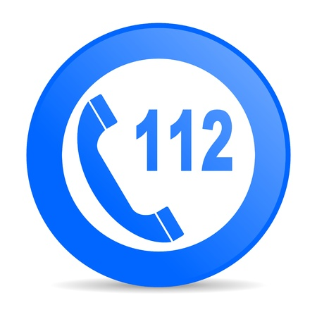 emergency call blue circle web glossy icon