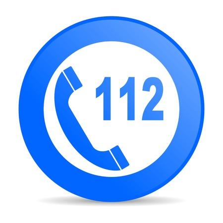 emergency call blue circle web glossy icon Stock Photo - 19305462