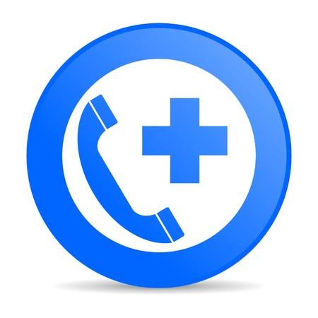 emergency call blue circle web glossy icon Stock Photo - 19305210