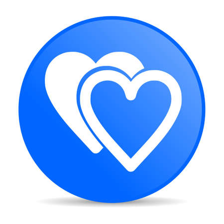 love blue circle web glossy icon