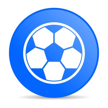 soccer blue circle web glossy icon  photo