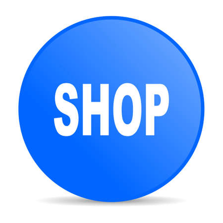 shop blue circle web glossy icon  photo